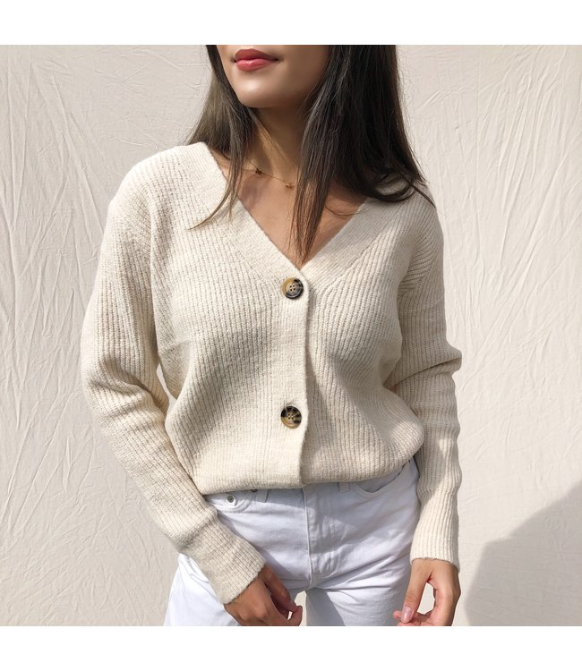Sona Button Knit Cardigan / Beige