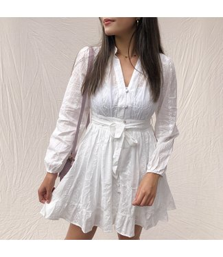 Laila Embroidered Dress / White