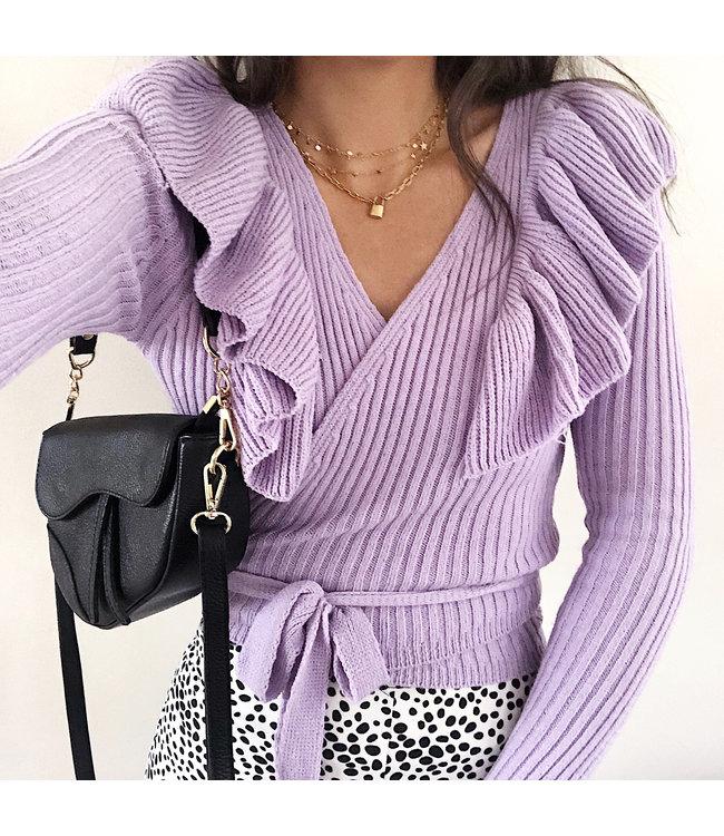 Irelia Ruffle Wrap Cardigan /  Lilac