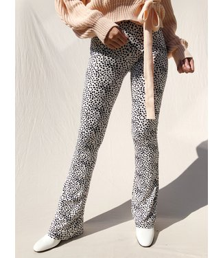Alexis Cheetah Flared Leggings / Off White