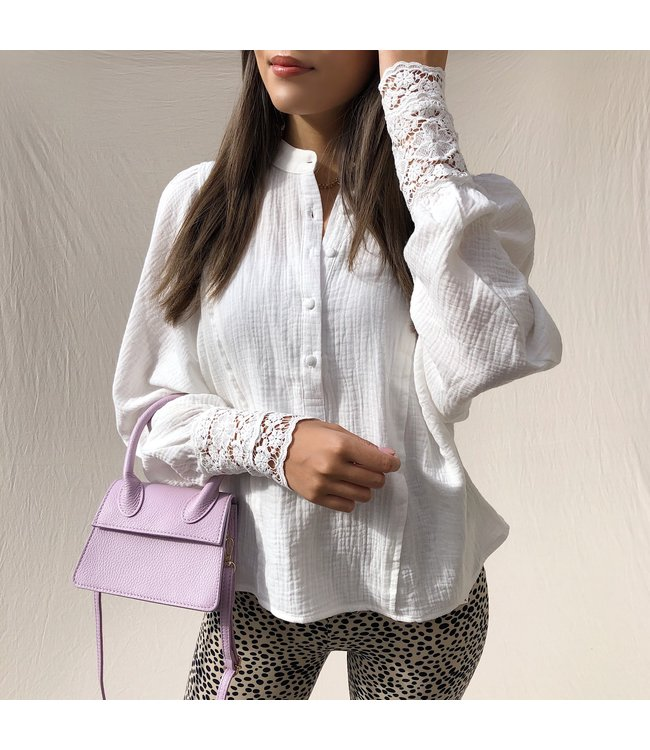 Rima Puff Sleeve Blouse / White