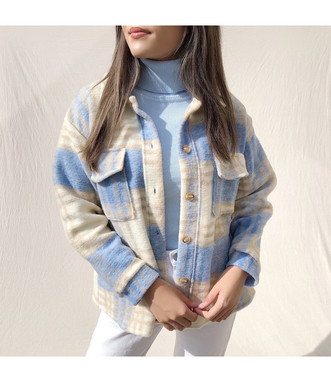 Sasha Checkered Wool Jacket / Light Blue