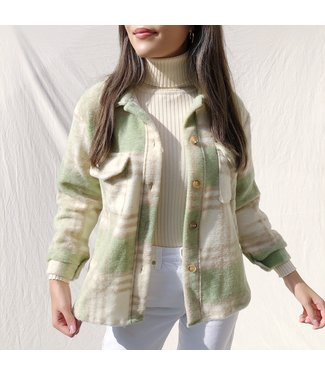 Sasha Checkered Wool Jacket / Light Green