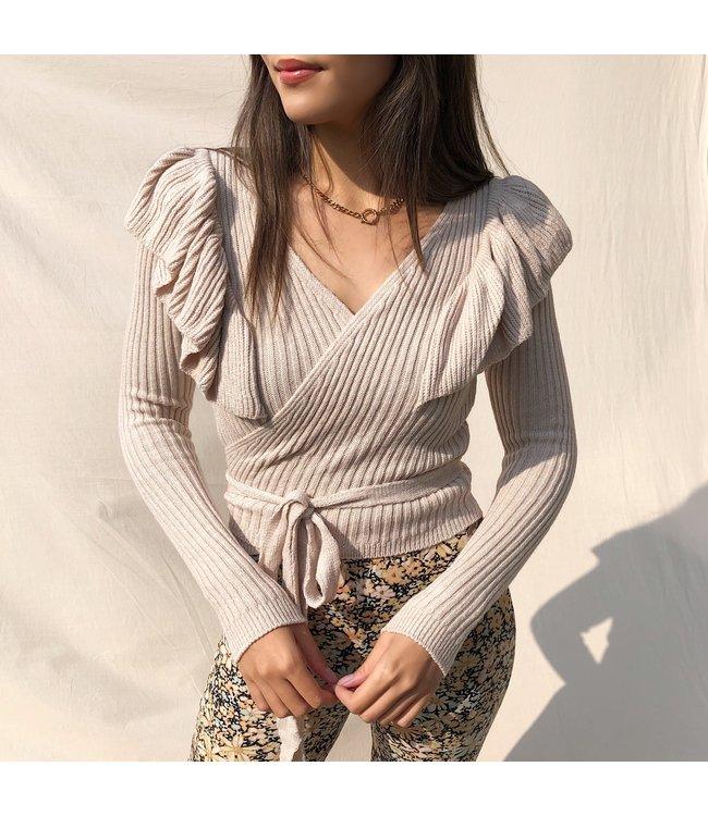 Irelia Ruffle Wrap Cardigan /  Beige