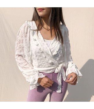 Florance Ruffle Crop Blouse / White
