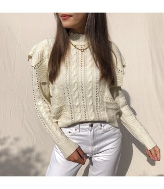 Lux Ruffle Knit Top / Creme