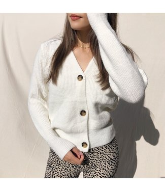 Sona Button Knit Cardigan / White