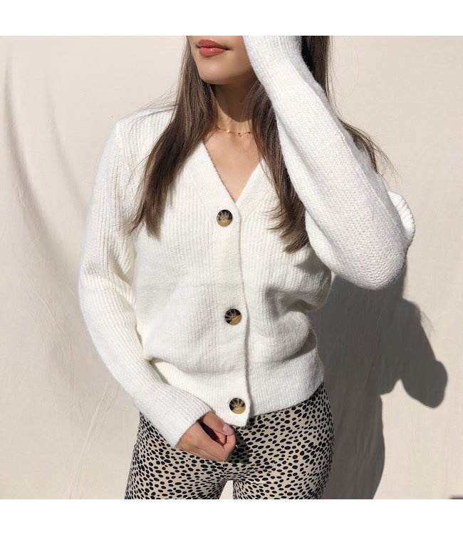 Sona Button Knit Cardigan / White