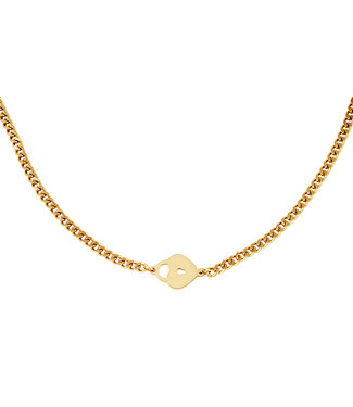 Gold Locked Heart Necklace