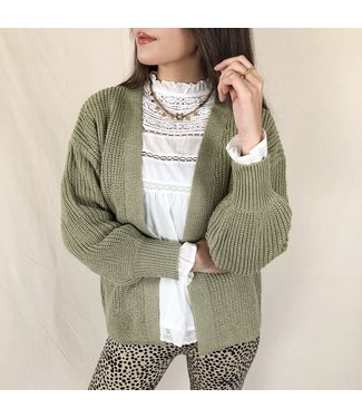 Amber Knit Cardigan /  Olive Green