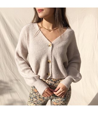 Ruby Button Knit Cardigan / Light Taupe