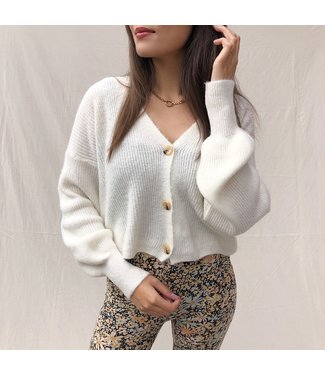 Ruby Button Knit Cardigan / Off White