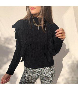 Lux Ruffle Knit Top / Black