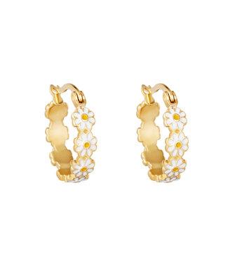 Gold Daisy Flower Hoop Earrings / White