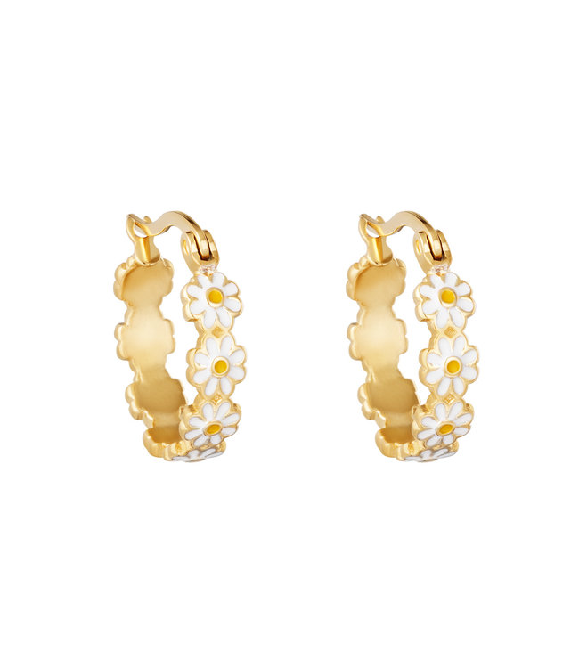 Gold Daisy Flower Hoop Earrings