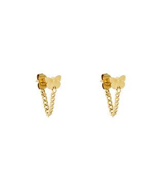 Gold Butterfly Chain Earrings