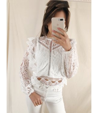 Elodie Lace Top / White