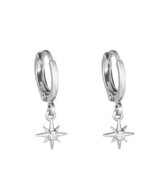 Silver Lustrous Star Earrings
