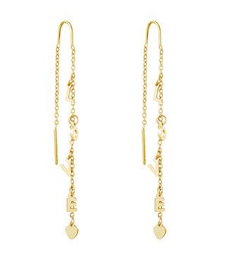 Gold Love Dangle Earrings