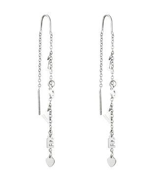 Silver Love Dangle Earrings