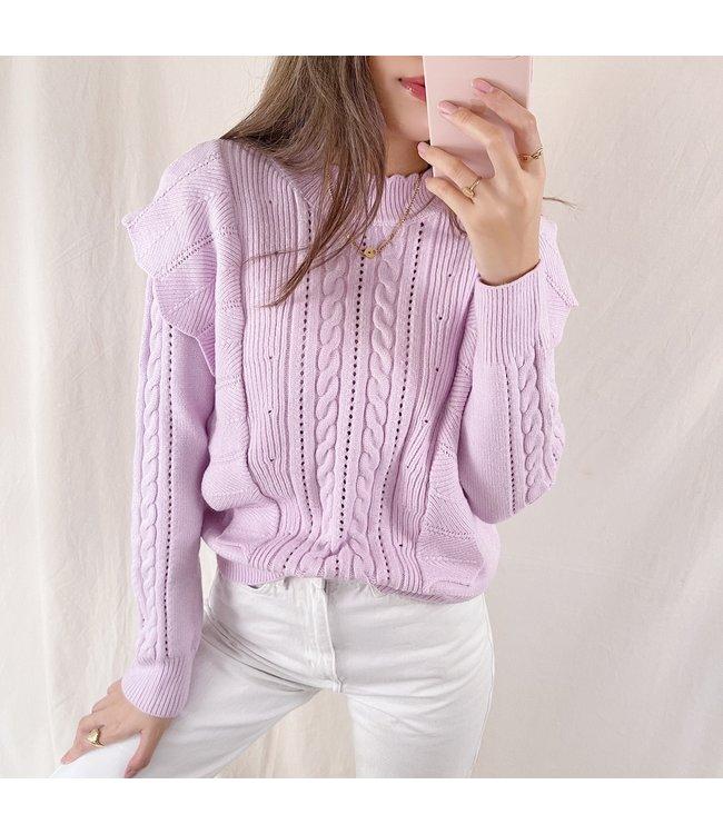 Yaiza Ruffle Knit Top / Lilac Pink