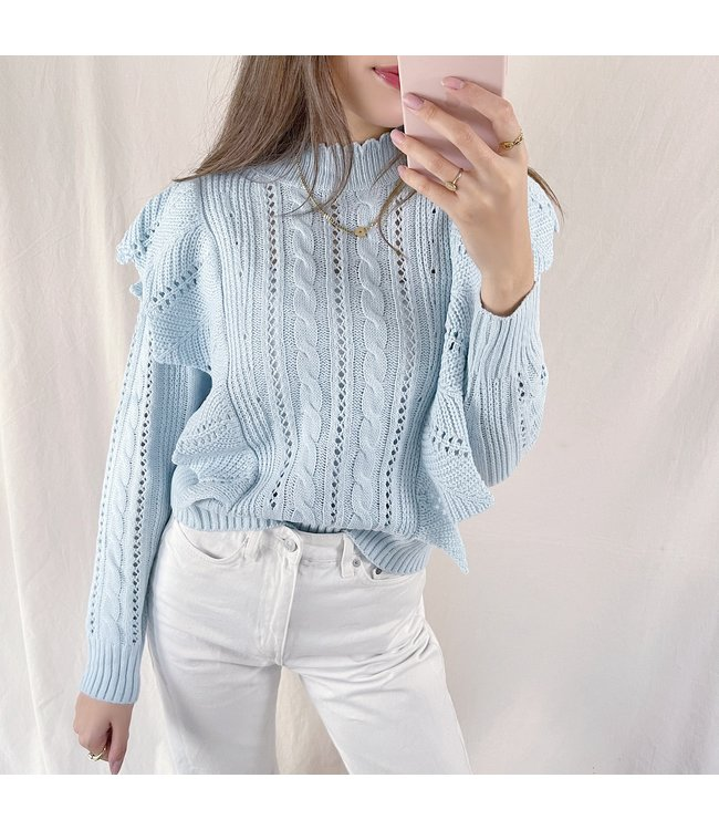 Lux Ruffle Knit Top / Light Blue