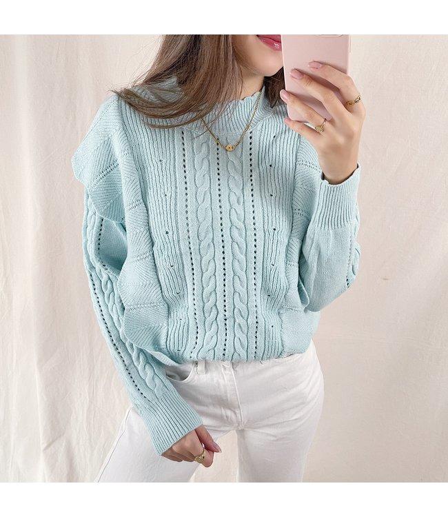 Yaiza Ruffle Knit Top / Mint Green