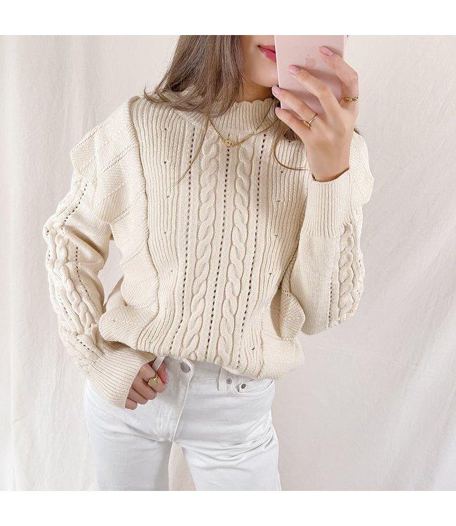 Yaiza Ruffle Knit Top / Beige