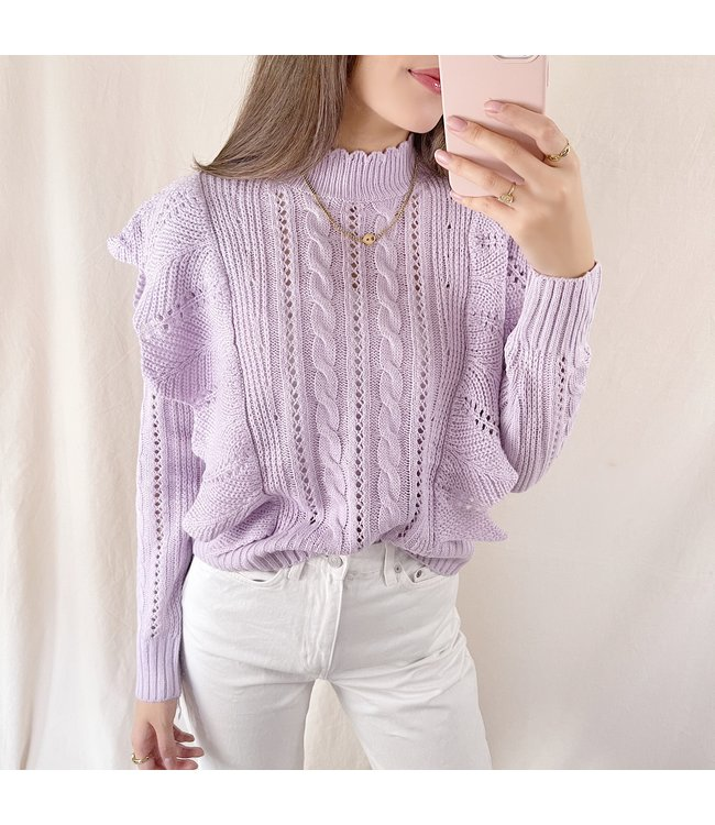 Lux Ruffle Knit Top / Lilac
