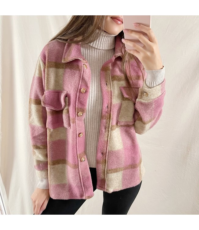 Sasha Checkered Wool Jacket / Pink