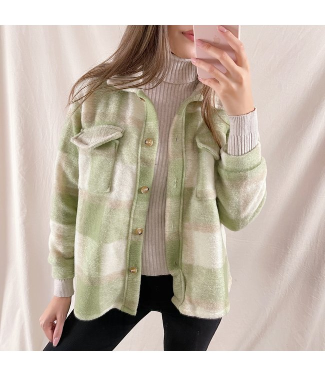 Sasha Checkered Wool Jacket / Green