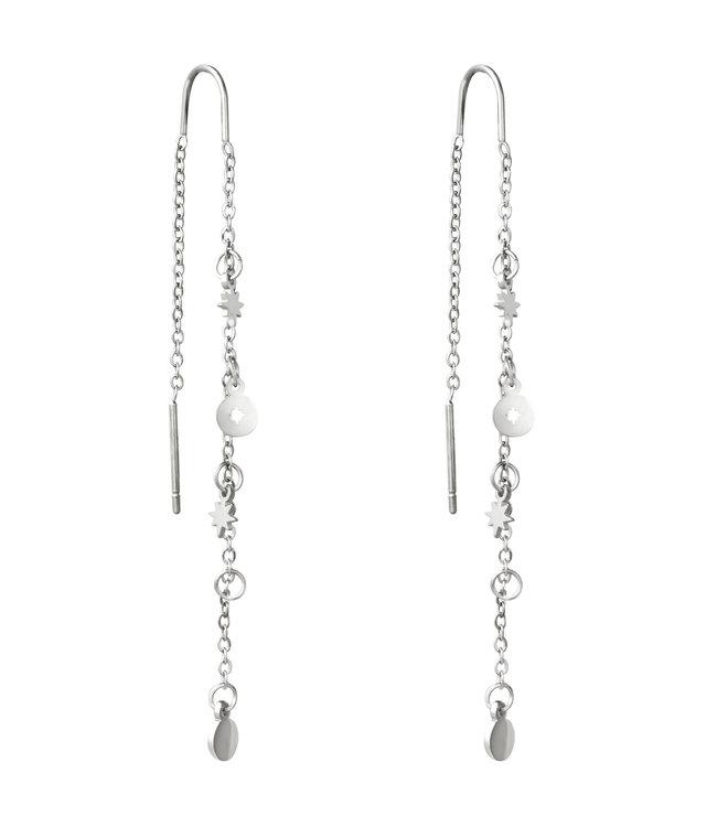 Silver Stardust Dangle Earrings