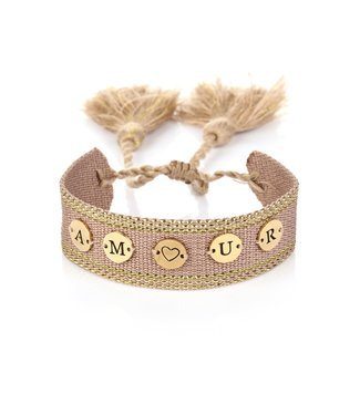 Amour Coin Woven Bracelet / Old Pink