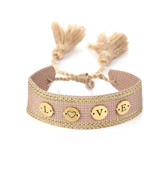 Love Coin Woven Bracelet / Old Pink