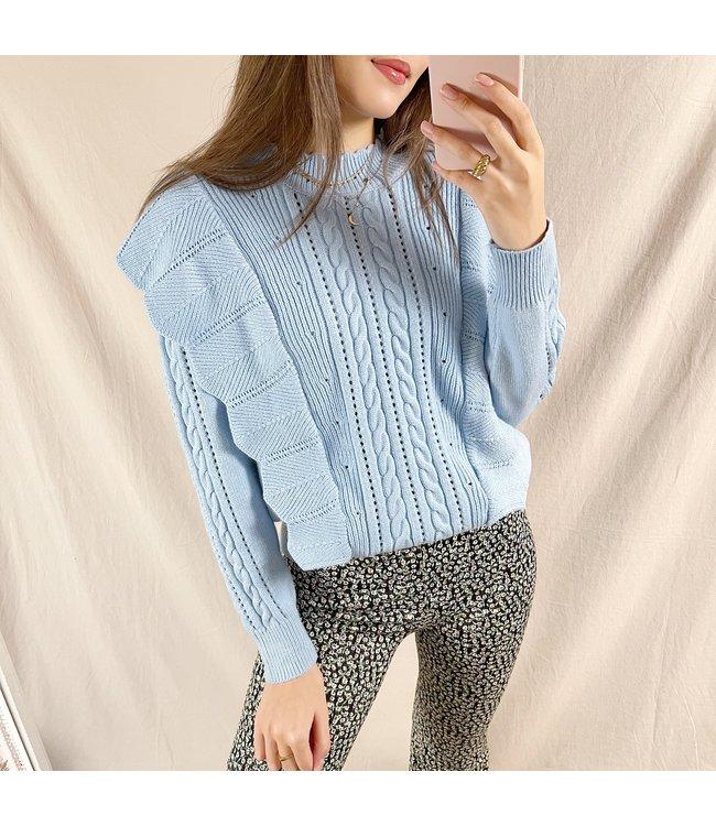 Yaiza Ruffle Knit Top / Blue