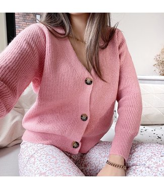 Sona Button Knit Cardigan / Pink