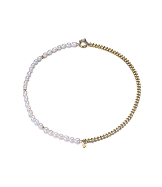 Gold Pearl Ring Chain Necklace