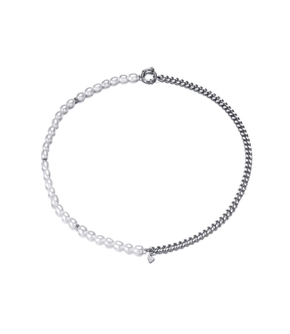 Silver Pearl Ring Chain Necklace