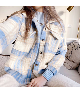 Sasha Checkered Wool Jacket / Light Blue