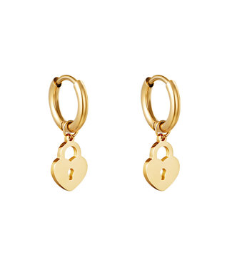 Gold Locked In Love Earrings