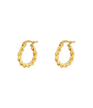 Gold Twine Hoop Earrings