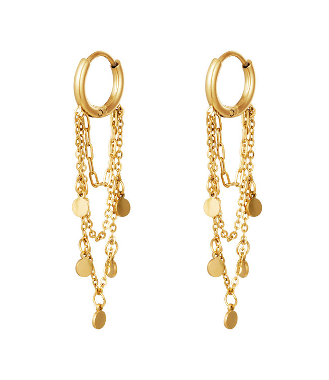Gold Circle Chains Earrings