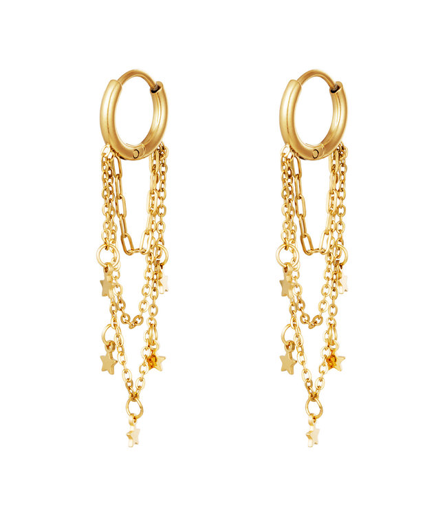 Gold Star Chains Earrings