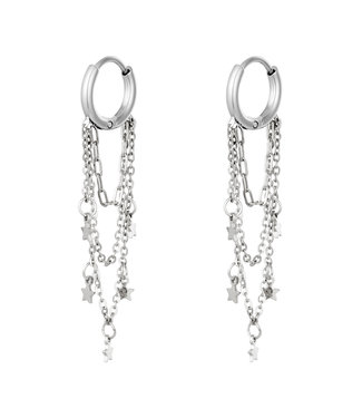 Silver Star Chains Earrings