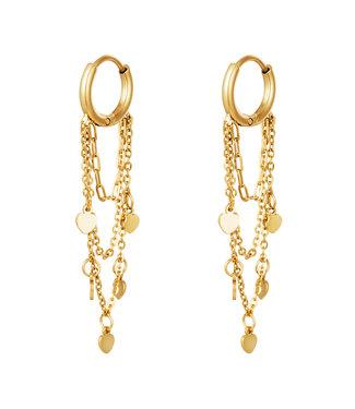 Gold Heart Chains Earrings