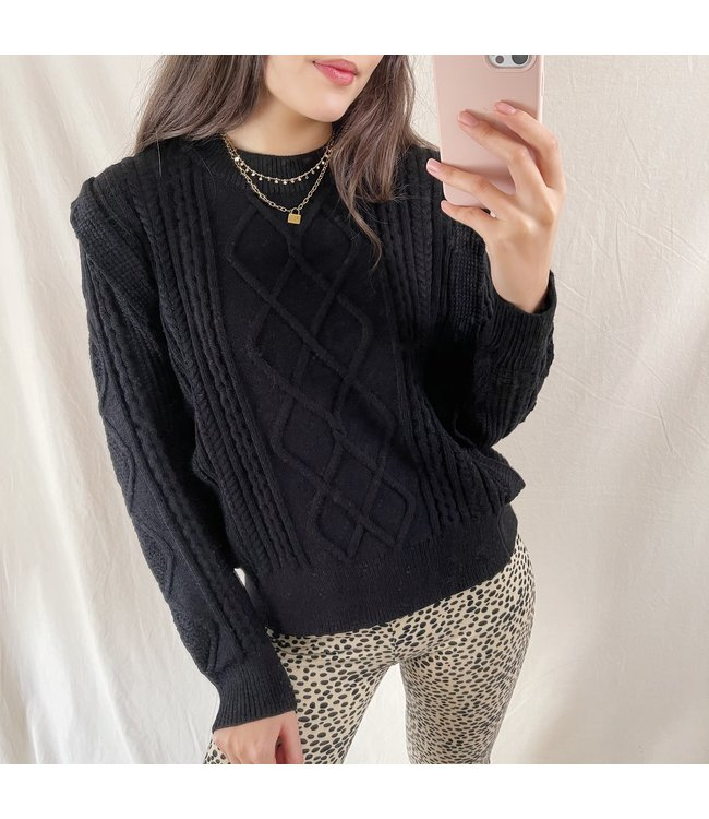 Karina Ruffle Knit Top / Black