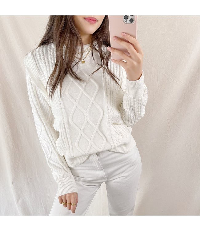 Karina Ruffle Knit Top / White
