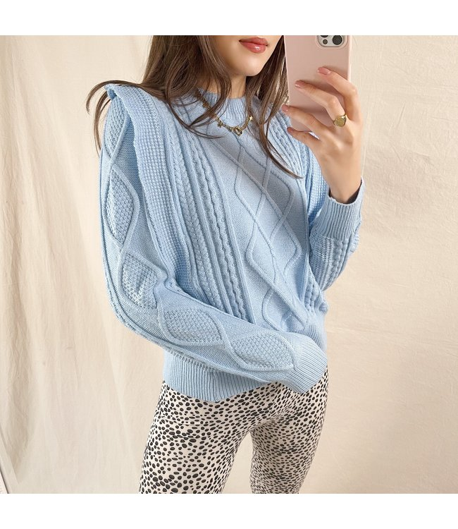 Karina Ruffle Knit Top / Blue