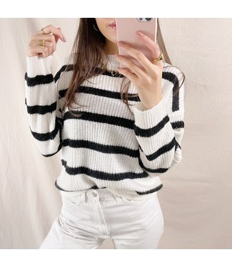 Dasha Striped Sweater / White