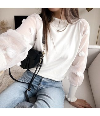 Claretta Flower Sleeve Top / White